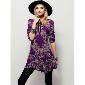 Free People Smooth Talker Floral Tunic Mini Dress